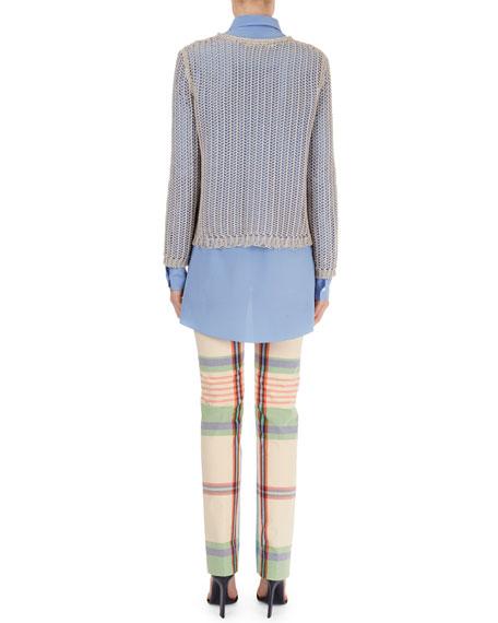 Open-Weave Crewneck Sweater