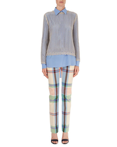 Open-Weave Crewneck Sweater, Silk Popover Blouse & Madras Plaid Pants