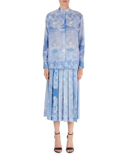 Cloud-Print Band-Collar Blouse & Pleated Skirt