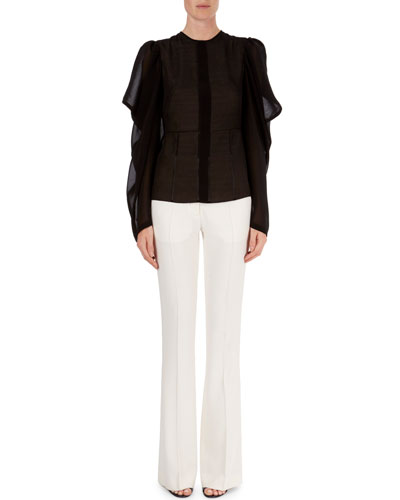 Butterfly-Sleeve Semisheer Top & High-Waist Flared Trousers
