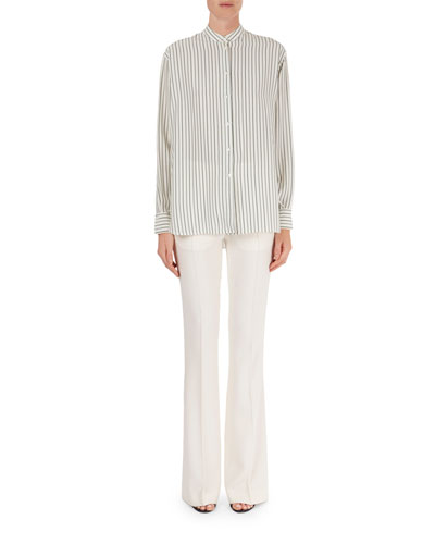 Striped Oversized Blouse & High-Waist Flared Trousers