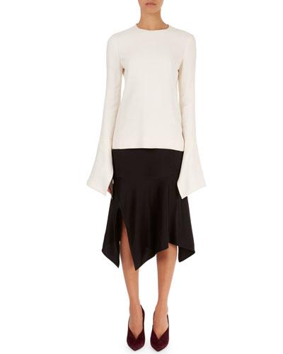 Flutter-Cuff Round-Neck Top & Fitted Handkerchief-Hem Skirt