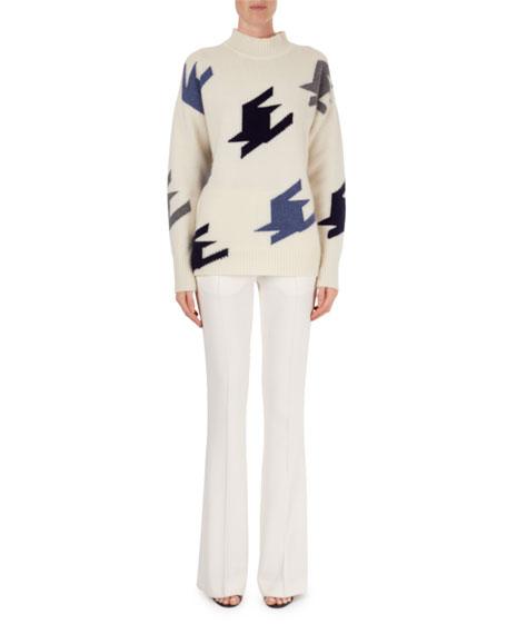 Oversized Geometric Knit Cashmere Mock-Neck Sweater