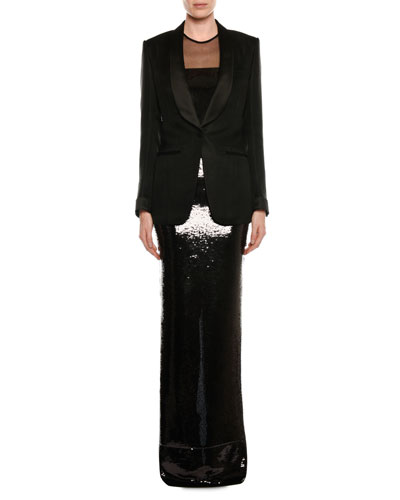 Sleeveless Liquid-Sequin Evening Gown with Illusion and Matching Items