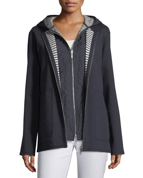 Nolene Dual-Sided Ponte Striped Reversible Jacket