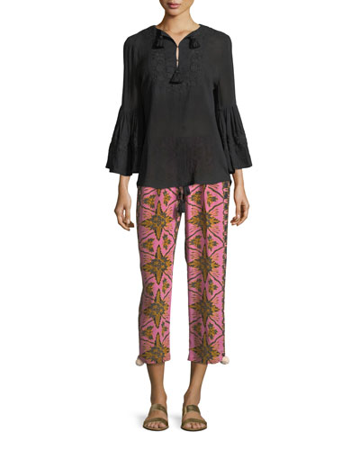 Batik-Print Straight-Leg Cropped Crepe de Chine Pants and Matching Items