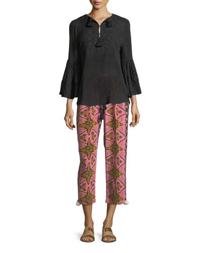Batik-Print Straight-Leg Cropped Crepe de Chine Pants and Matching Items