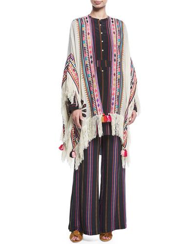 Simone Ashbury Stripe Wide-Leg Silk Pants and Matching Items