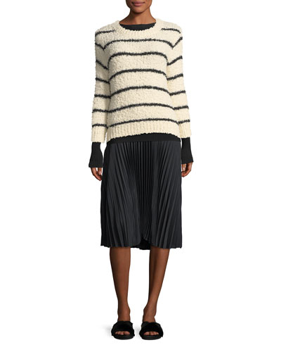 Fuzzy Striped Knit Crewneck Sweater and Matching Items