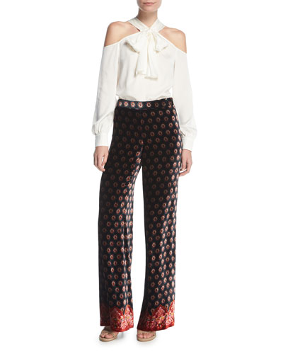 High-Waist Drapey Velvet Palazzo Pants and Matching Items