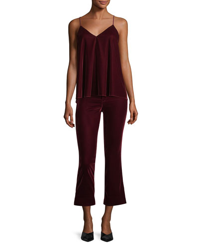 V-Neck Velvet Camisole Tank w/ Braided Straps and Matching Items