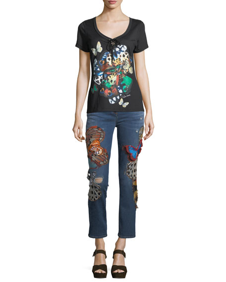 Scoop-Neck Butterfly-Print Cotton T-Shirt