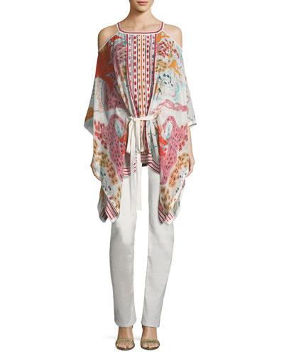 Cold-Shoulder Floral-Print Tie-Waist Blouse