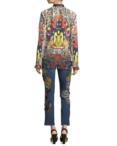 Butterfly Applique Straight-Leg Ankle-Length Jeans