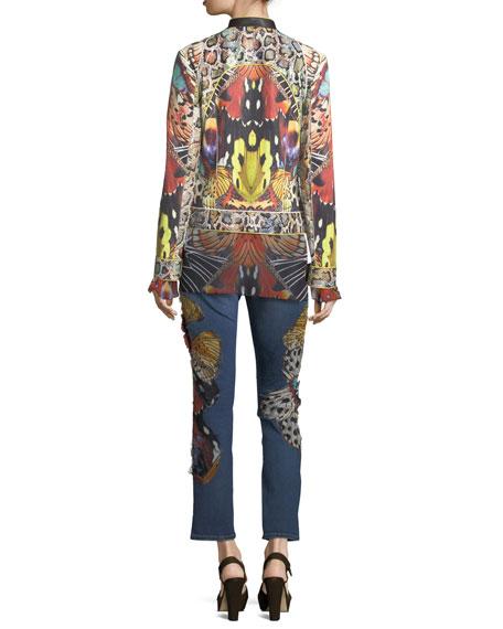 Long-Sleeve Butterfly-Print Silk Blouse