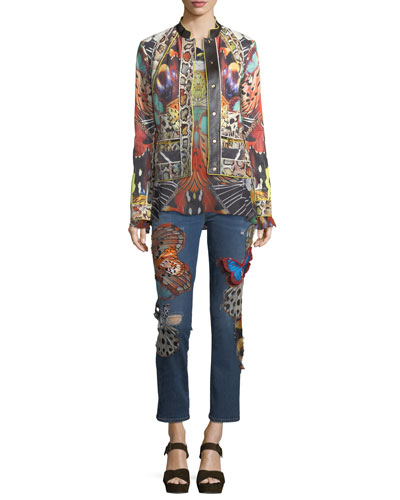 Butterfly Applique Straight-Leg Ankle-Length Jeans and Matching Items
