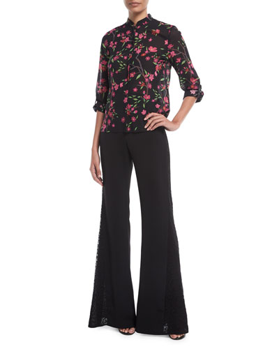 Mandy Side-Panel Flared Crepe Pants and Matching Items