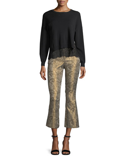 Drew Metallic Jacquard Cropped Bell Pants and Matching Items