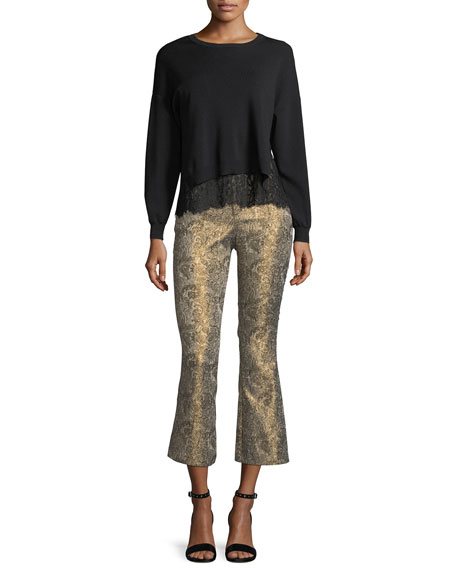 Iva Long-Sleeve Crewneck Sweater w/ Lace Tank