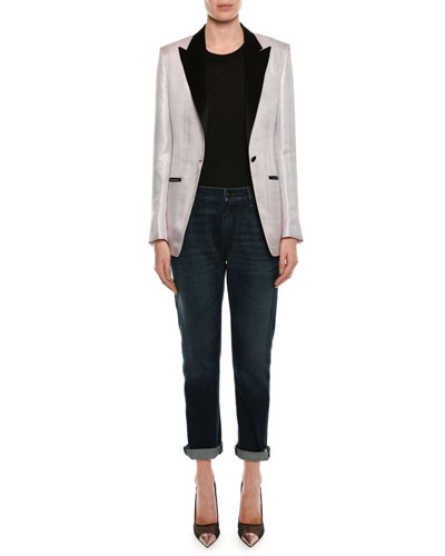 Long-Sleeve Round-Neck Cotton Top and Matching Items