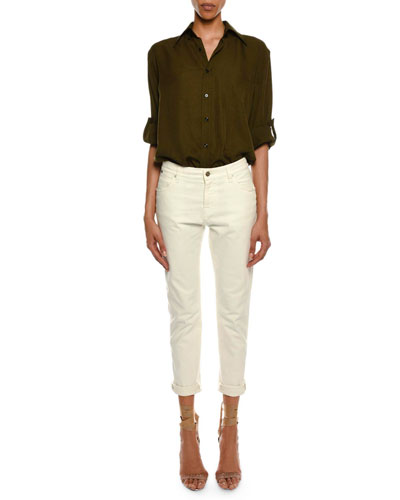 Light-Washed Twill Button-Front Blouse and Matching Items