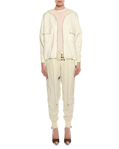 Crewneck Short-Sleeve Cotton T-Shirt and Matching Items