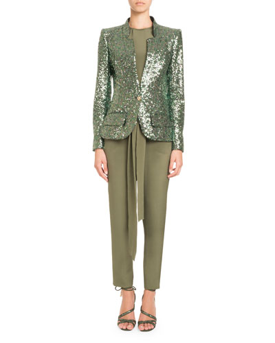 Single-Breasted Tailored Sequin Jacket and Matching Items
