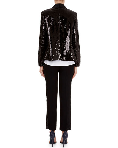 Sequin Open-Front Cardigan Jacket