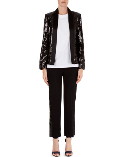 Sequin Open-Front Jacket & Tuxedo-Stripe Pants