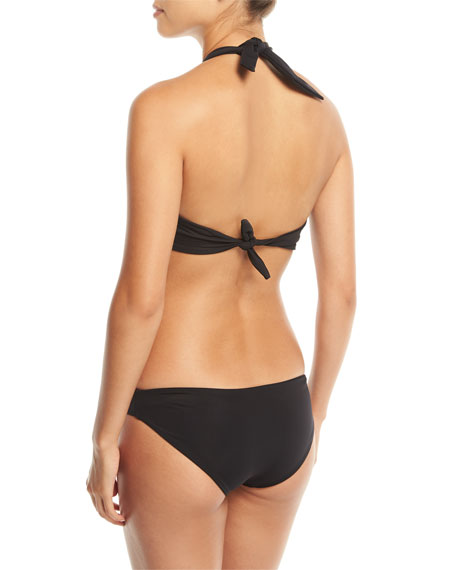 Odette Twist-Front Halter Solid Swim Top