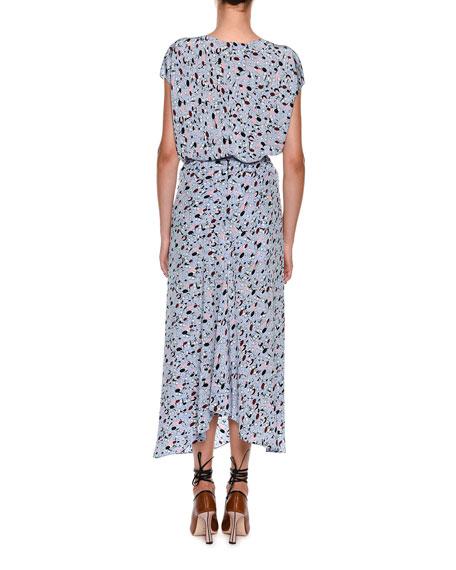 Cap-Sleeve Tie-Waist Dot-Print Long Silk Blouse w/ Appliques
