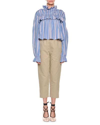 Mock-Neck Striped Ruffled Poplin Blouse and Matching Items