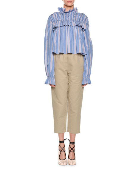 Mock-Neck Striped Ruffled Poplin Blouse