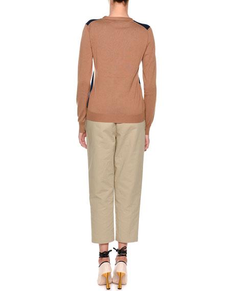 Pull-On Crop Straight-Leg Poplin Pants
