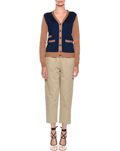 Pull-On Crop Straight-Leg Poplin Pants and Matching Items
