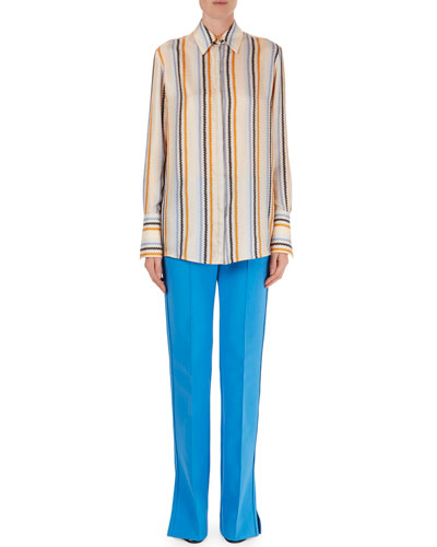 Zigzag-Stripe Silk Blouse & Flare-Leg Vented Pants