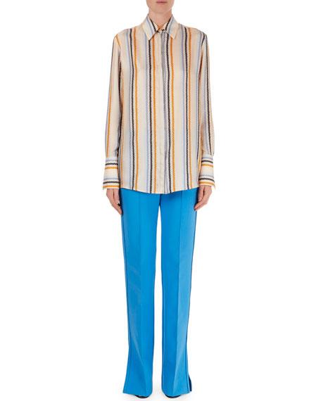 Zigzag-Stripe Silk Blouse