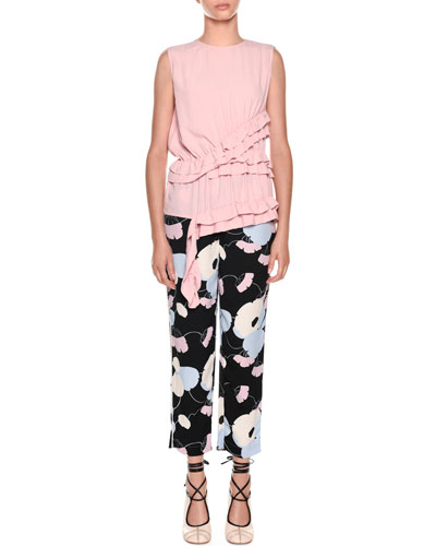Floral-Print Straight-Leg Pajama Silk Pant and Matching Items