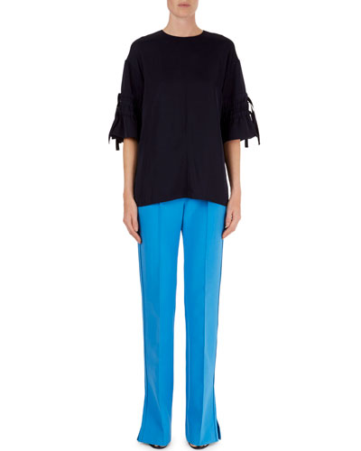 Crepe Drawstring-Tie Top & Flare-Leg Vented Pants