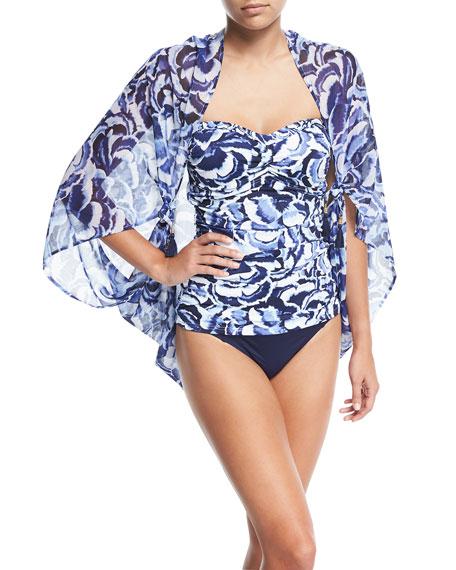 Pansy Petals Shirred Bandini Swim Top