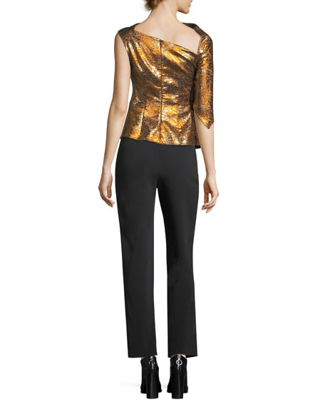Metallic Jacquard One-Shoulder Top