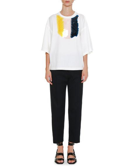 Crewneck Half-Sleeves T-Shirt with Detachable Paillette Bib