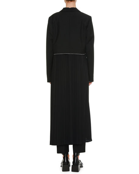 Belted Long Wool-Mohair Coat with Pleated Skirt