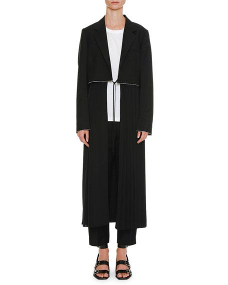 High-Waist Straight-Leg Cropped Wool Pants