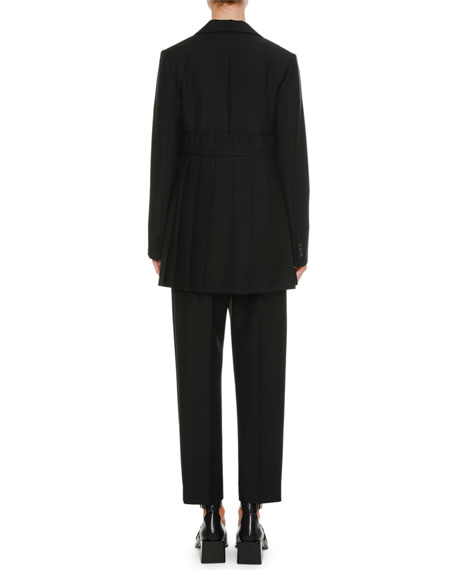 Pleated Notched-Collar Side-Tie Wool-Mohair Coat