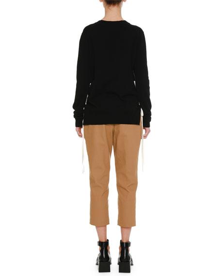 Lacing-Sides V-Neck Cashmere Knit Sweater
