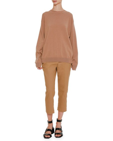 Round-Neck Oversized Cashmere Sweater with Side Insets