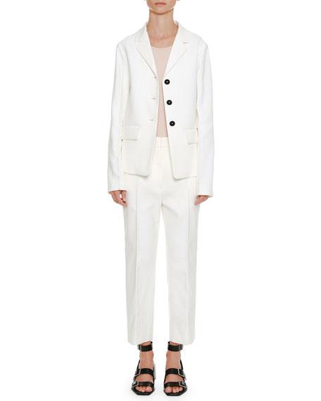 Notched-Collar Button-Front Cotton-Twill Blazer