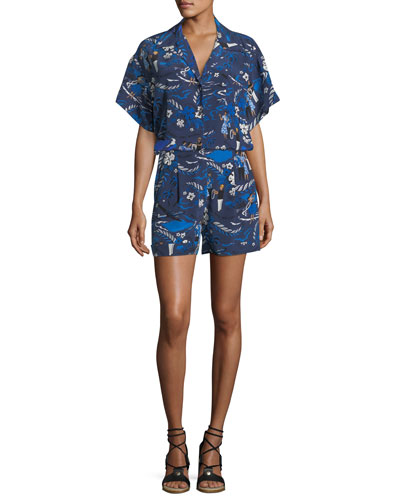 Welcome-Print High-Rise Pleated Crepe de Chine Shorts and Matching Items