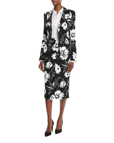 Floral-Print Crepe Cady Tailored Jacket and Matching Items